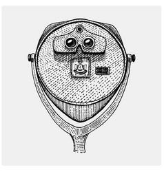 Binocular tower coin operated viewer spyglass vector