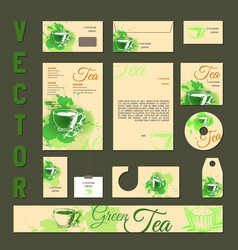 business cards collection with tea concept design vector image