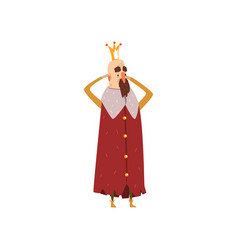 funny bearded king character in red mantle holding vector image vector image