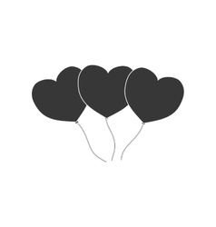 heart balloons love decoration pictogram vector image