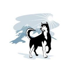 Husky Wild Dog Wolf Retro vector image