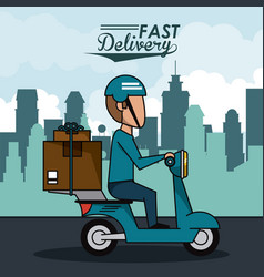 poster city landscape with fast delivery man vector image vector image
