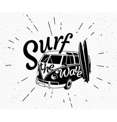 Van surf retro black and white vector image