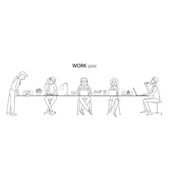 Work space thin line concept vector image vector image