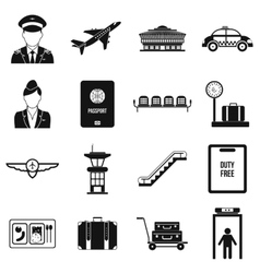 Airport black simple icons vector