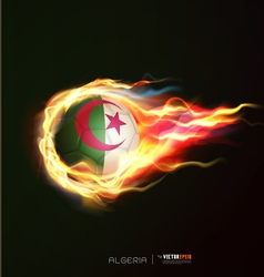 Algeria flag with flying soccer ball on fire vector