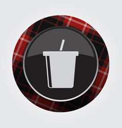 button red black tartan - cold drink with straw vector image