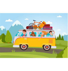 family that goes on vacation at countryside in van vector image
