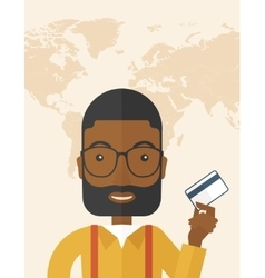 Happy businessman standing holding credit card vector image