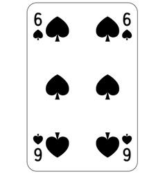 Poker playing card 6 spade vector image