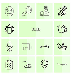 14 blue icons vector