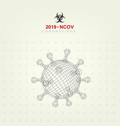 3d outline style 2019-ncov virus covid19 backgroun vector image