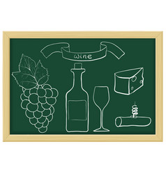 a bottle wine grapes wine glass cheese and vector image
