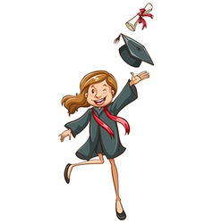 A simple drawing of a happy girl graduating vector image