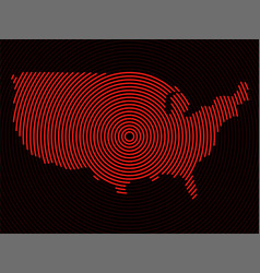abstract usa map radial lines vector image