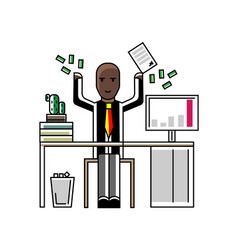 african businessman throwing money in the air vector image