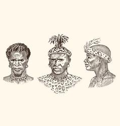 African tribes portraits of aborigines vector