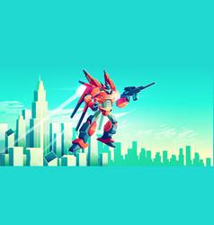 Alien warrior armed transformer robot flying vector