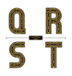 alphabet celtic golden style in a set qrst vector image