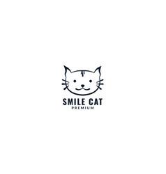 Animal cat exotic face head cute line logo design vector