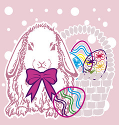 Background easter bunny with eggs version 1 vector