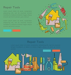 Banner set of construction tools vector image