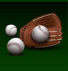 Baseball glove with balls vector