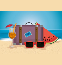 Beach with summer holidays icons vector