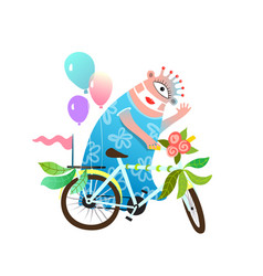Bicycle decoration parade monster for kids event vector
