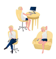blonde man watching tv working on computer and vector image