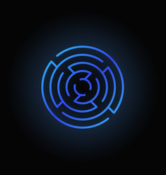 Blue round maze icon vector