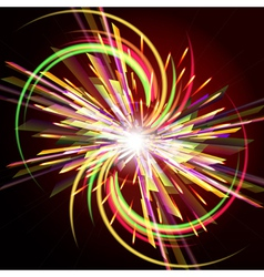 Bright abstract festive fireworks over dark vector image