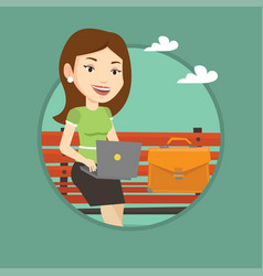 business woman working on laptop outdoor vector image
