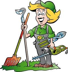 Cartoon a handy gardener woman standing with he vector