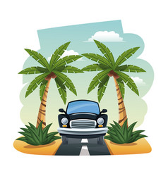 Cartoon black car parked on the tropical road vector