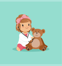 Cartoon toddler girl playing doctor examining her vector