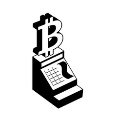cash register bitcoin calculation incryptocurrency vector image