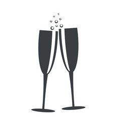 champagne glasses flat icon design stock vector image