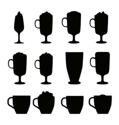 Coffee cups different cafe drinks vector image vector image