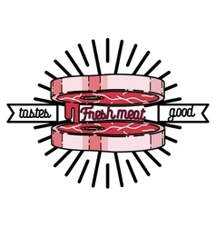 Color vintage meat store emblem vector image