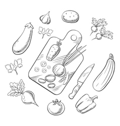 Cooking a vegetable salad sketch icons vector image