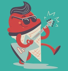 Crazy Ice Cream Cone Playing Electric Guitar vector