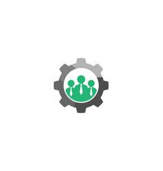 Creative three people team gear logo design vector
