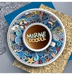 Cup of coffee marine doodle vector