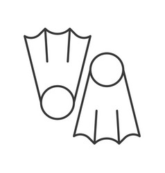 Diving fins outline icon on white background vector