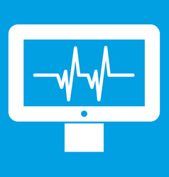 Electrocardiogram monitor icon white vector