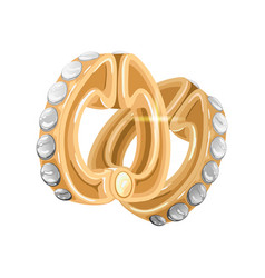 Elegant yellow gold earrings with shiny diamonds vector
