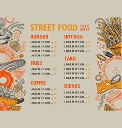 fast food hand drawn street vector image
