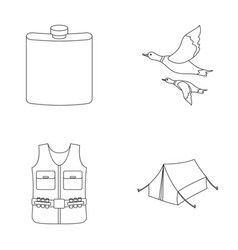 Flask gilet with cartridges flying ducks tent vector