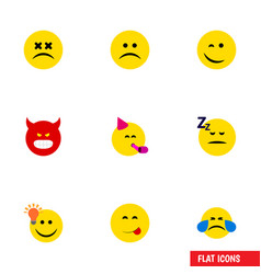 flat icon face set of sad have an good opinion vector image